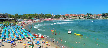 Panorama of the Central beach in Sozopol, Bulgaria Royalty Free Stock Photography