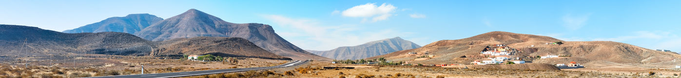 Panorama of central Fuerteventura, Canary islands, Spain Royalty Free Stock Photos