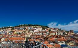 Panorama central historique de Lisbonne Images stock