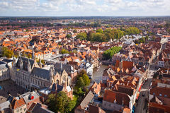 Panorama of the central part of Bruges Stock Photo