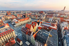 Panorama of the central part of Wroclaw city at sunset Stock Photo