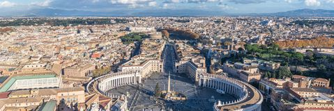 Panorama of central Rome including Saint Peter`s Square and the Vatican royalty free stock photos