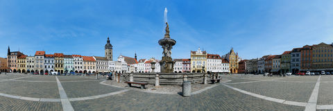 Panorama of the central square of Ceske Budejovice Royalty Free Stock Image