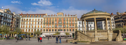 Panorama of the central square Plaza Del Castillo in Pamplona stock images