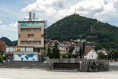 Panorama of central square of town of Strumica, Republic of Macedonia. STRUMICA, MACEDONIA - JUNE 21, 2018: Panorama of central square of town of Strumica royalty free stock image