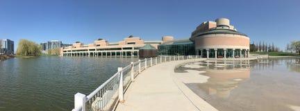 Panorama centrum administracyjno-kulturalne w Markham, Kanada na pięknym dniu Zdjęcie Royalty Free