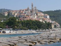 Panorama of Cervo. Panorama from the beach of the medieval village of Cervo, Liguria, Italy Royalty Free Stock Photos