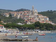 Panorama of Cervo. Panorama from the beach of the medieval village of Cervo, Liguria, Italy Stock Photo