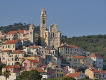 Panorama of Cervo. Panorama from the beach of the medieval village of Cervo, Liguria, Italy Stock Photography