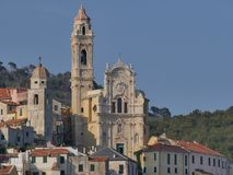 Panorama of Cervo. Panorama from the beach of the medieval village of Cervo, Liguria, Italy Stock Image