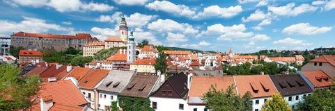 Panorama Cesky Krumlov Royalty-vrije Stock Afbeeldingen