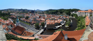 Panorama of Cesky Krumlov, Czech Republic Stock Photos