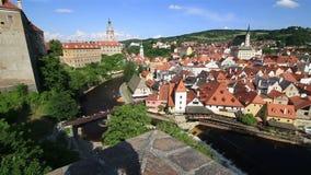 Panorama of Cesky Krumlov stock video footage