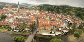Panorama of Cesky Krumlov, historical city 160 km or 100 miles south of Stock Photography