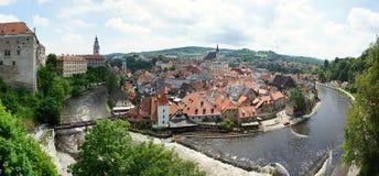 Panorama of Cesky Krumlov old town stock image
