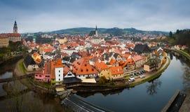 Panorama Cesky Krumlov weit Lizenzfreies Stockbild