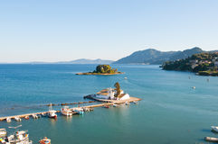Panorama of Chalikiopoulou Lagoon and Pontikonisi and Vlacheraina monastery on the island of Corfu, Greece. Stock Photography