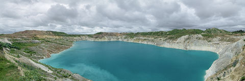 Panorama of the Chalk Quarry near Volkovysk, Belarus Stock Photos