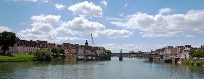 Chalon Sur Saone, France. A panorama of Chalon-sur-Saone and the bridge across the Saone-et-Loire river to l`Ile St Laurent stock photo