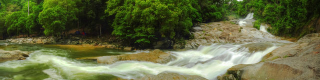 Panorama - Chamang Waterfall. Panoramic view of Chamang waterfall at Bentong, Pahang, Malaysia Stock Photo