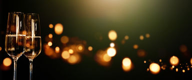 Panorama with champagne for a celebration. Night panorama with champagne for a festive occasion Royalty Free Stock Image