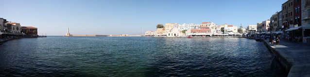 Panorama of chania with lighthouse, crete Royalty Free Stock Images