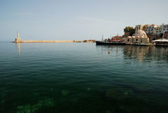 Panorama of Chania's harbour, Crete Royalty Free Stock Photo