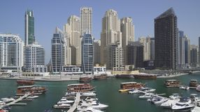 Panorama of the channel of the prestigious area of Dubai Marina stock images