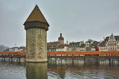 Panorama of Chapel Bridge over Reuss River in Lucerne, Switzerland Royalty Free Stock Photography