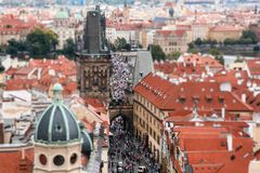 Panorama of the Charles Bridge with people, tilt-shift effect.  stock images