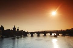 Panorama of Charles bridge in Prague Stock Photo