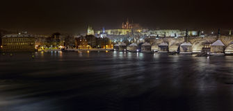 Panorama of the Charles bridge and Prague castle Royalty Free Stock Image