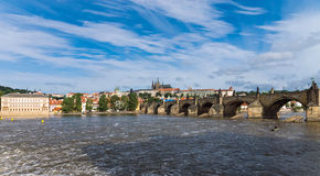 Panorama of Charles Bridge Stock Photos