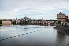 Panorama with Charles Bridge and Prague Castle Royalty Free Stock Images