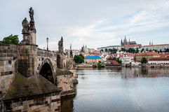 Panorama with Charles Bridge and Prague Castle Royalty Free Stock Photos