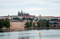 Panorama with Charles Bridge and Prague Castle Stock Photo