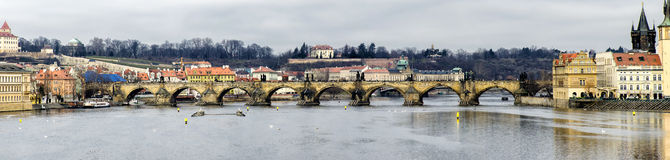 Panorama of Charles Bridge. On the Vltava River in Prague Stock Images