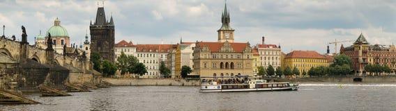 Panorama of the Charles Bridge and Vltava River in Prague Stock Photos