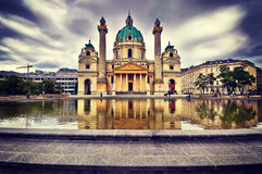 Panorama Charles`s Church, Karlskirche in Vienna, Austria. Stock Photos