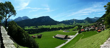 Panorama Chateau d'Oex, Switzerland Royalty Free Stock Photos