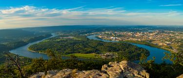 Lookout Mountain panorama. Panorama of Chattanooga and the Tennessee River from high up on Lookout Mountain Stock Photo