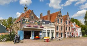 Panorama of the cheese market in Edam royalty free stock photos