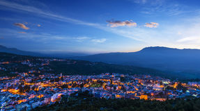 Panorama of Chefchaouen with buildings painted in blue color, Mo Royalty Free Stock Image