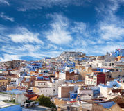 Panorama of Chefchaouen Medina in Morocco, Africa. Panorama of Chefchaouen city blue medina in Rif mountains, Morocco, North Africa royalty free stock photography