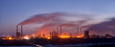 Panorama of the chemical factory with smoke Royalty Free Stock Image