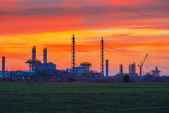 Panorama of Chemical plant at sunset Stock Photos
