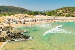 Panorama of Chia coast, Sardinia, Italy. Royalty Free Stock Image