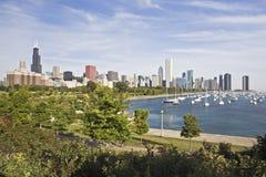 Panorama of Chicago. And Lake Michigan royalty free stock photos