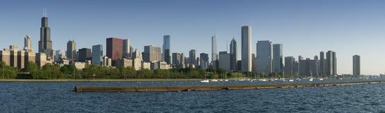 Panorama of Chicago Skyline Stock Photo