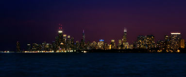 Panorama Chicago Skyline at Night Stock Photo
